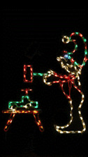 Animated Christmas Elf w Hammer Outdoor LED Lighted Decoration Steel Wireframe