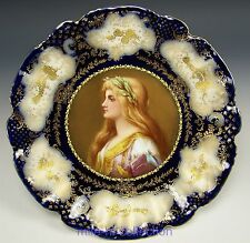 LIMOGES HAND PAINTED LADY PORTRAIT & RAISED GOLD CABINET PLATE ARTIST E. FURLAUD