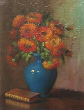 ECOLE FRANCAISE TABLEAU NATURE MORTE FLEURS ZINNIAS FLOWER STILL LIFE PAINTING