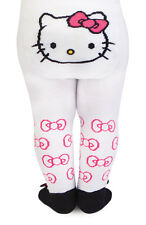 New Trumpette HELLO KITTY All Over Bow Print w/ Bow Tights 12- 18 mos White Pink