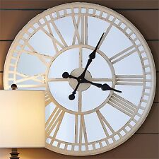 Split P Sanibel Cream Metal Frame Mirror Wall Clock, 28""