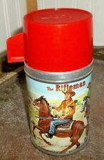 VERY RARE 1960 Rifleman Glass Lined Metal Lunch Box Thermos Western TV Show