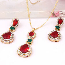 Swarovski Element Crystal Gold Plated Jewelry Sets Pendant Necklace Earrings