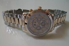 Silver & Gold finish designer inspired style fashion Geneva link  watch