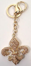 Fleur Di Lis Key Chain Rhinestone Bling Boy Scout Mother'S Club Symbol