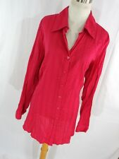 Coldwater Creek 2X Womens Shirt Berry Pink Button Down Front V Neck L/S Long T1