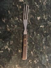 Vintage GRANNY FORK; Three-prong, Stainless, Wood Handle, Cooking Utensil JAPAN