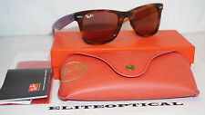 New Authentic RAY BAN Wayfarer Limited Tortoise/Purple/Red Mirror RB2140 11772K