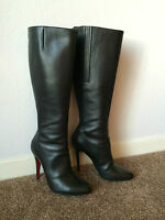 AUTH CHRISTIAN LOUBOUTIN KNEE HIGH BLACK LEATHER BOOTS Sz 40
