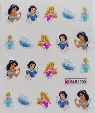 Nail Art PRINCESS Girls Jasmine Cinderella Snow White Water Decal Sticker 1700