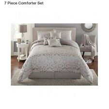 New Grey King Size Comforter Set Modern Elegant Bedding Bedspread With Bedskirt