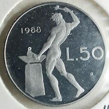 1988   Repubblica Italiana  50  lire  FONDO SPECCHIO  da divisionale