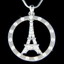 w Swarovski Crystal French Eiffel Tower Paris France Circle of Love Necklace New