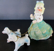 Victoria Ceramics Blonde Girl Figurine Poodles On Chain Vtg Japan Lace Dress