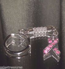 Tibetan Silver Breast Cancer Awareness Pink Crystal Key Ring with Mesh Chain