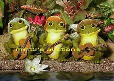 3 Musician FROGS JAMMIN'! Playing GUITAR, BANJO, BASS garden statues pond decor