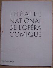 programme THEATRE NATIONAL DE L'OPERA COMIQUE - WERTHER (drame lyrique)