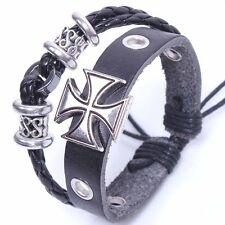 Herrenlederarmband 2 Reihig Eisernem Kreuz Schwarz Silber Leder Armband 2017