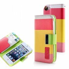 For Apple Iphone SE 5, 5s PU Leather Card Holder Wallet Flip Case Cover Colorful