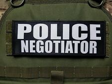 "3x8"" POLICE NEGOTIATOR Tactical Hook Plate Carrier Morale Raid Patch SWAT"