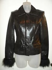 bebe P S NWOT Jacket 100% Genuine Leather 100% Mongolian Sheep Fur Black Spring