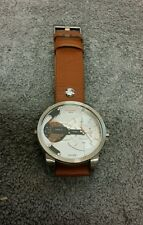 DIESEL DRESS MINI DADDY SILVER DIAL BROWN LEATHER STRAP MEN'S WATCH DZ7309 NEW