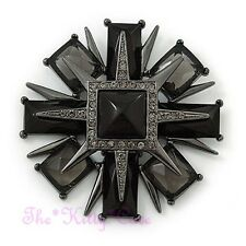 Victorian Deco Style Black Layered Cross Medal Brooch Pin w/ Swarovski Crystals