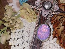 WEDDING BRIDE MOTHER MEMORIAL PHOTO #JR159 Necklace Locket OPAL lavender purple