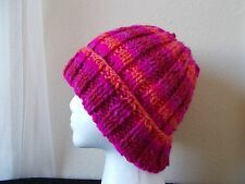 Hand knitted bulky & warm beanie/hat, fuchsia/red/orange  colors