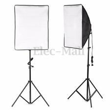 2x Photo Video Studio Continuous Lighting Kit E27 Bulb Lamp Softbox Light Stand