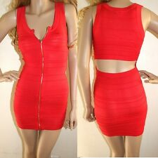 NWT bebe red gold zip open cutout back sweater bodycon bandage top dress XL X L