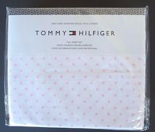 Tommy Hilfiger Full Size Sheet Set White with Pink Polka Dots NEW