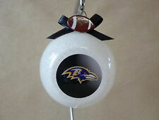 "Unique Handmade NFL Baltimore Ravens  3"" Glass Ball Ornament~Made In The USA~NEW"