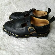 Dr Doc Martens Vtg Womens Black Brogue Mary Jane Shoes UK4 US 6 Made In England