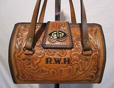 Vintage Medium Sized Tan Hand Tooled Western Leather Satchel Tote Handbag EUC!