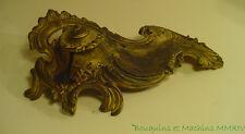 Encrier ancien en alliage doré baroque rocaille 22 cm avec son encrier de verre