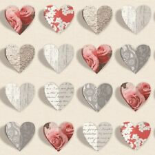Arthouse Opera Olivia Brush Wallpaper 669702 - 3D Effect Hearts Floral Roses