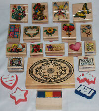 Lot Of Wooden Rubber Stamps 17+4 Foam Flower Butterfly Heart Balloons Bear Fairy