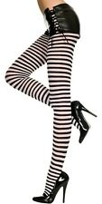 XL Size Black + White Zebra Stripe Opaque Tights Sexy Designer Lingerie P7471 Q