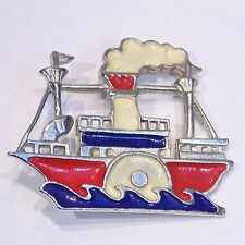 Vintage red white blue patriotic river steamboat enameled pin/brooch, rare