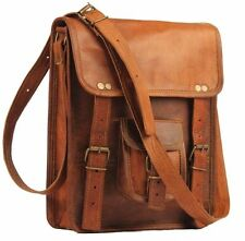 "11""Mens Leather satchel Vintage Leather messenger Bag Shoulder Bag for i Pad"