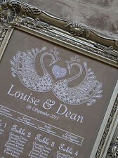 A3 Wedding table seating plan- lace swan can do A2 any colours.