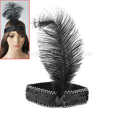 Burlesque Feather Headdress Headband Flapper Sequin Fancy Cosplay Costume Partys