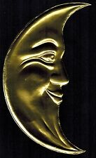 LARGE CRESCENT GOLD MOON FACE MAN PAPER DIORAMA CELESTIAL DRESDEN GERMANY