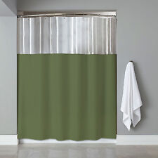 "See Through Top Clear/Sage Vinyl Bath Shower Curtain 72"" x 72"""
