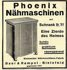 Baer& Rempel Bielefelder Nähmaschinenfabrik Phoenix Nähmaschinen mit Schrank1930