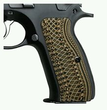 "CZ 75 Grips,Full Size,Coyote G10, Snake Scale Texture,0.26"" Thick, H6-2-24"
