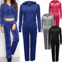 NEW WOMENS VELOUR TRACKSUIT HOODIE LADIES LOUNGEWEAR TOP BOTTOMS SUIT SIZE 8-16
