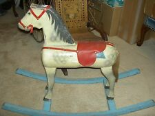 Large heavy, antique wood rocking horse, ride-on sturdy, dapple grey pony toy