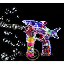 "8"" Light-Up Shark Bubble Blasterr Funny Bubble Gun Novelty Gift Item"